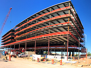 Steel fabrication in place for 3 Concho Center in Midland Texas, by Myrex Industries