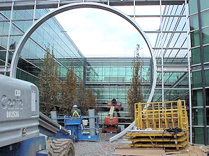 Steel fabrication for the 'Moongate' entrance of the Lucent Tech Center, by Myrex Industries